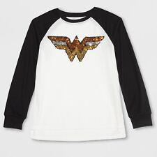 097304ba9 DC Comics Girls  Mujer Maravilla de Escudo con Cierre Magnético Con  Lentejuelas Mangas Largas Camiseta-Xs (4-5)