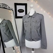 Womens TOPSHOP Check Zip Up Grey Lightweight Peter Pan Collar Biker Jacket sz 14