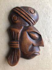 Vintage Wood Handcrafted Carved Folk Art Face Wall Hanging Sculpture