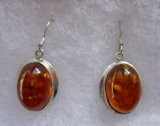 Pair Hook Ear Rings , Oval Amber Set in Silver Frames , Marked 925 on back
