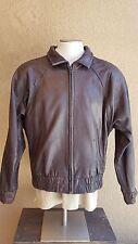 ANDREW MARC Men's Brown 100% Full Zip  Bomber Soft Leather Jacket SZ L Korea
