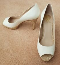 Vince Camuto Ashlynn White Raffia Court Shoes
