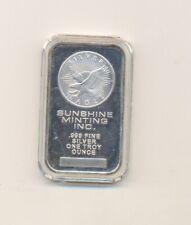 1 oz  ounce vintage  .999  silver bar sunshine mint
