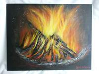 Fireplace Fire Original Acrylic  Painting 11x14 Canvas Panel Wall Art Home Decor