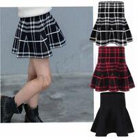 2-12 Girls School High Waist Skater Skirt Flared Pleated Short Mini Plaid Dress