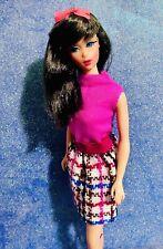 Vintage Mod 1969 Julia Barbie Stacey Leather Weather Pink Top + Knit Skirt