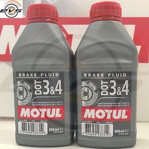 MOTUL DOT 3 4 Liquido Olio Comandi idraulici Freni Frizioni 100% Sint 2 x 500ml