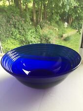 "Cobalt Blue Glass 8"" Serving Bowl Bormioli Rocco Forum Sapphire w/Rings"