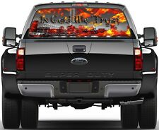 Burning USA Flag  In God We Trust Silver New York 9/11 Rear Window Graphic Decal