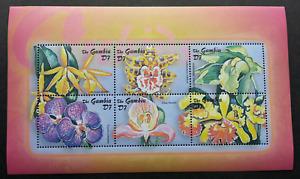 [SJ] Gambia Orchids 2001 Flower Plant Flora (miniature sheet) MNH
