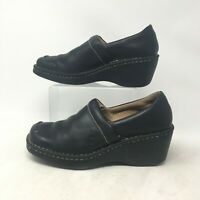 Born Pull Up Wedge Clogs Slip On Comfort Shoes Square Toe Leather Black Womens 8