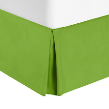 Luxury Pleated Tailored Bed Skirt - 14� Drop Dust Ruffle, Cal King -Garden Green