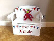Kids Toy Box Personalised Converts To A Desk Red White Blue Bunting Boy or Girl