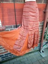 M&S per Una Skirt Size 14 long tall Rust Orange maxi Tie dye lace festival boho