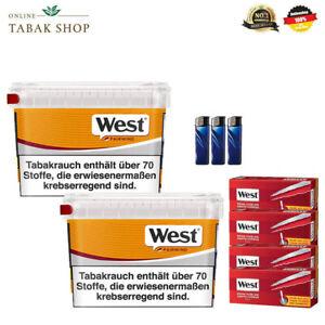 2x West Yellow Fairwind Tabak Box 215g 1000 West Extra Hülsen und Feuerzeuge