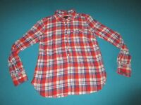 J CREW Womens Plaid Long Sleeve ShirtTop Red White Blue Small S