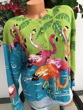 Design Options Sweater Pink Flamingos Philip & Jane Gordon Sequins L