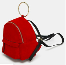 ZARA RED LEATHER SUEDE SMALL BACKPACK