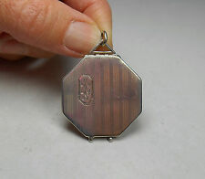 STERLING SILVER ANTIQUE VINTAGE OCTAGON SHAPED CIGARETTE STRIPED LOCKET PENDANT