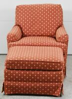 Baker Arm Chair or Club Chair with matching Ottoman Designer Red Upholstery