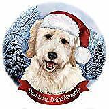 Holiday Pet Gifts Goldendoodle White Dog Santa Hat Porcelain Ornament