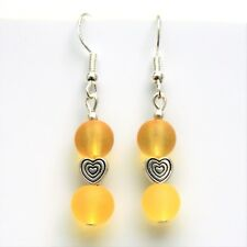 New Dangly Earrings With Sterling Silver Hooks & Yellow Frosted Beads LB659