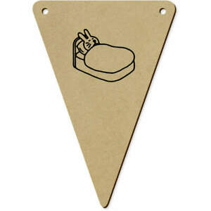 5 x 140mm 'Rabbit In Bed' Wooden Bunting Flags (BN00054726)