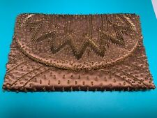 🌸 Ladies Taupe/ Brown Beaded Formal Evening Clutch Bag NWOT 🌸