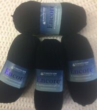 Plymouth Encore Worsted. Color 217- Black. Wool/Acrylic. 1 Lot of 4