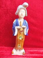 Bella, vecchio Figure di Ceramica __ Hofdame Con Flauto __ China ___42cm __
