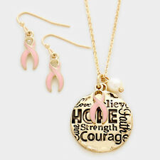 Women's Pink Ribbon Breast Cancer Awareness Gold Pendant Necklace & Earrings Set
