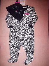 """NEW Carter's JOY 6 Months Baby Girl """"My First Halloween"""" Leopard/Cat Sleeper+Hat"""