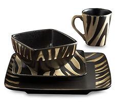 Dinnerware Set 16 Piece Safari Zebra Dinner Dishes Plates Mugs Bowls Stoneware