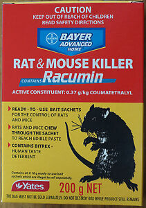 Yates Racumin Rat & Mouse Killer  20 Satchels 200g 0.37g/kg Coumatetralyl