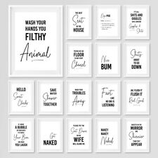 More details for bathroom prints funny quote minimalist toilet poster wall art pictures decor new