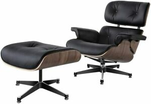 Recliner Lounge Chair Armchair and Footstool Ottomans in Genuine Leather