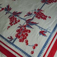 "Rare Vintage MCM Tablecloth With Grapes Red And Blue 62"" X 48"" Fruit Kitschy"