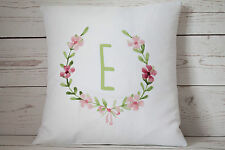 """Personalised Rose Girl Initial green 16"""" white cushion cover Shabby Chic Nursery"""
