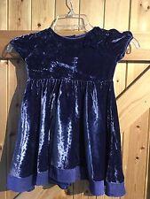 Gorgeous Crushed Velvet Girls Dress Purple Dark Blue Monsoon Dress 18 -24 Months