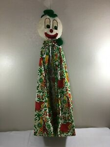 "Vintage Hanging Diaper Plush Stacker Holder Clown Dinosaurs Handmade 43"" Long"