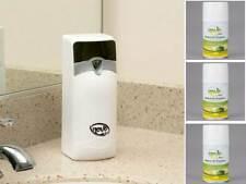 Novo Metered Restroom Aerosol Air Freshener System with 3 Lemon Lime Scent Cans