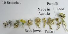 Vintage Large lot of ten brooches - many designer - flowers