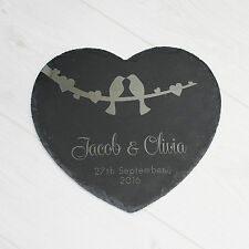 Personalised Heart Couple Slate Plaque Sign CheeseBoard Anniversary Wedding Gift