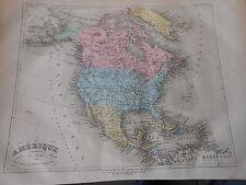 Carte Map couleur de l'Amérique du Nord 1877