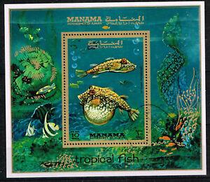 Manama Marine Life Tropical Fish 1972 Souvenir Sheet A-3