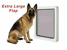 More details for extra large dog pet door xl flap 366 x 441 mm 2 way white gate lockable entrance