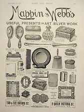 1898 PRINT ~ ADVERTISEMENT MAPPIN & WEBB'S SILVER WORK