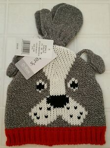 NWT Carter's Infant Baby BOY GIRL Unisex 0-9 MONTHS Hat & Mitten Set DOG #193516