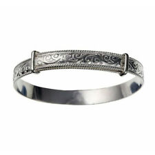 925 Sterling Silver 6mm Filigree Expanding Bangle Womens / Childs / Babies UK HM