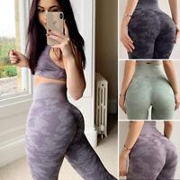 Women Seamless Yoga Pants High Waist Fitness Leggings Running Gym Push Trouser L